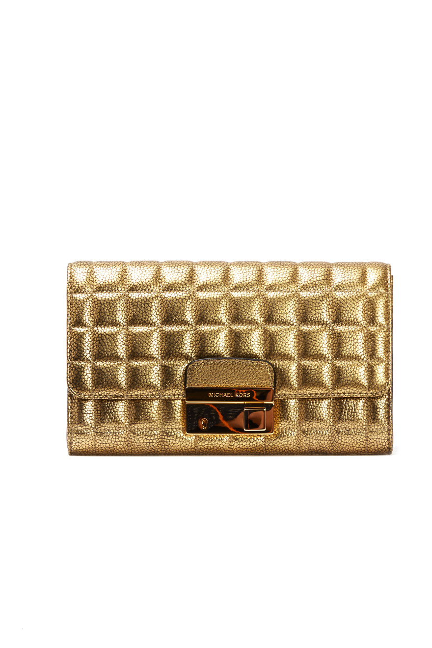 Gia Gold Quilted Leather Clutch