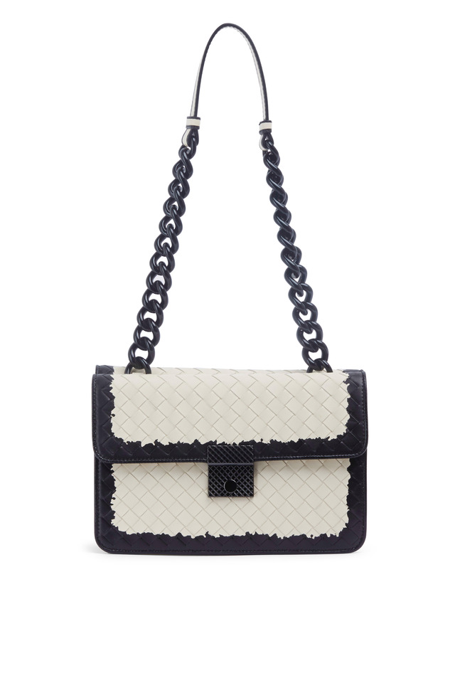 Black Ivory Leather Double Flap Chain Shoulder Bag