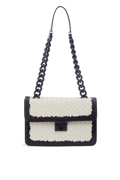 Bottega Veneta - Black Ivory Leather Double Flap Chain Shoulder Bag