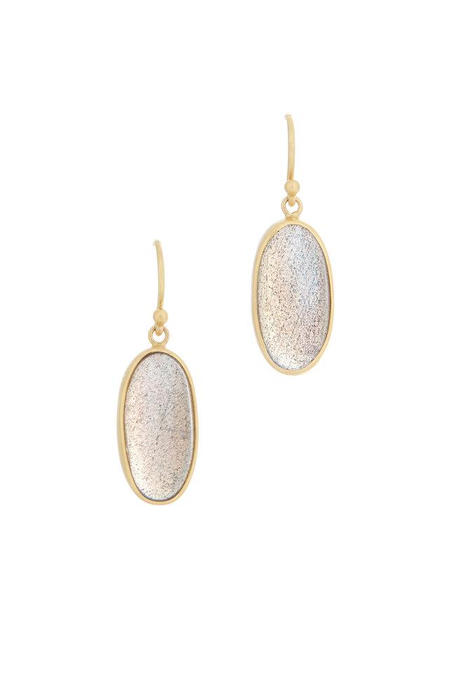 Yellow Gold Oval Labradorite Earrings