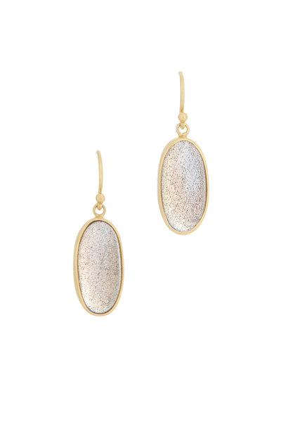 Caroline Ellen - Yellow Gold Oval Labradorite Earrings