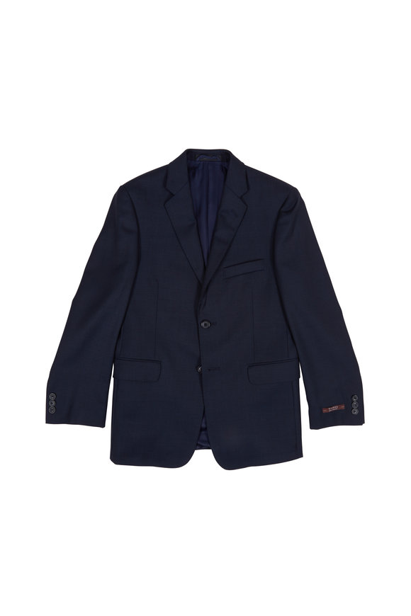Hickey Freeman Children Navy Blue Wool Boys Suit