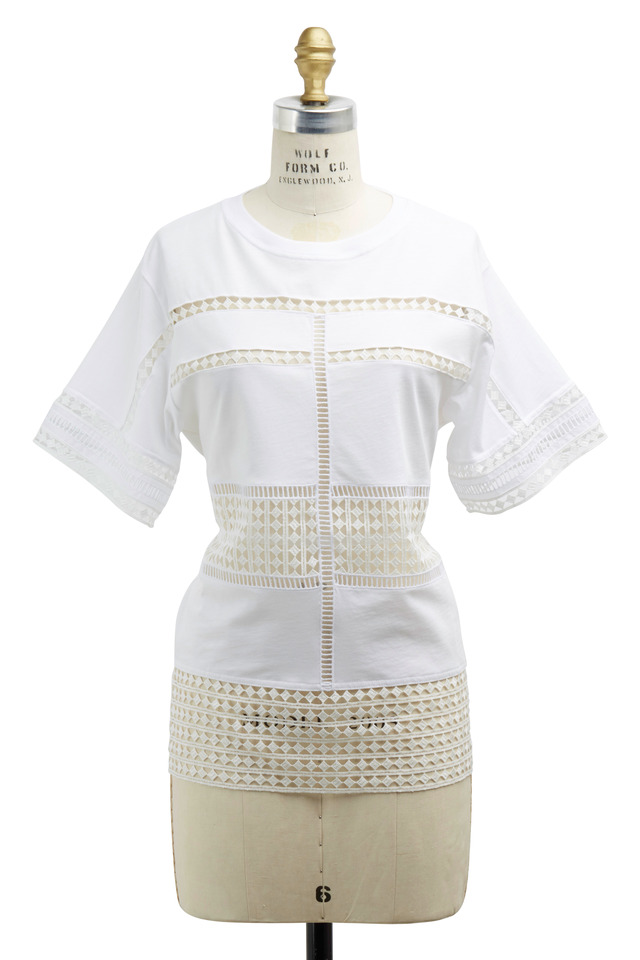 White Short Sleeve Lace Shirt