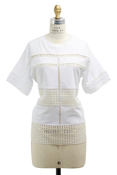 Chloé - White Short Sleeve Lace Shirt