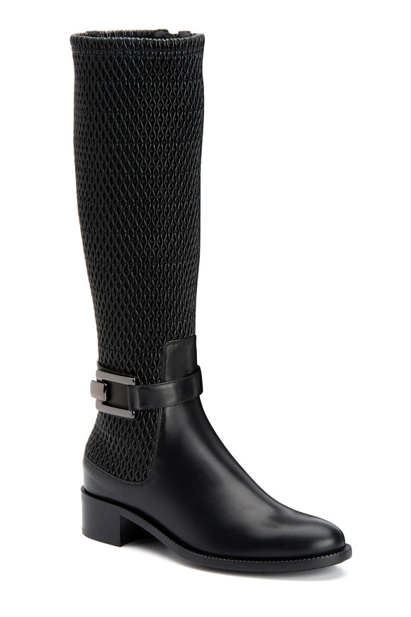 Aquatalia Odilia Black Leather Stretch Tall Boot, 40mm
