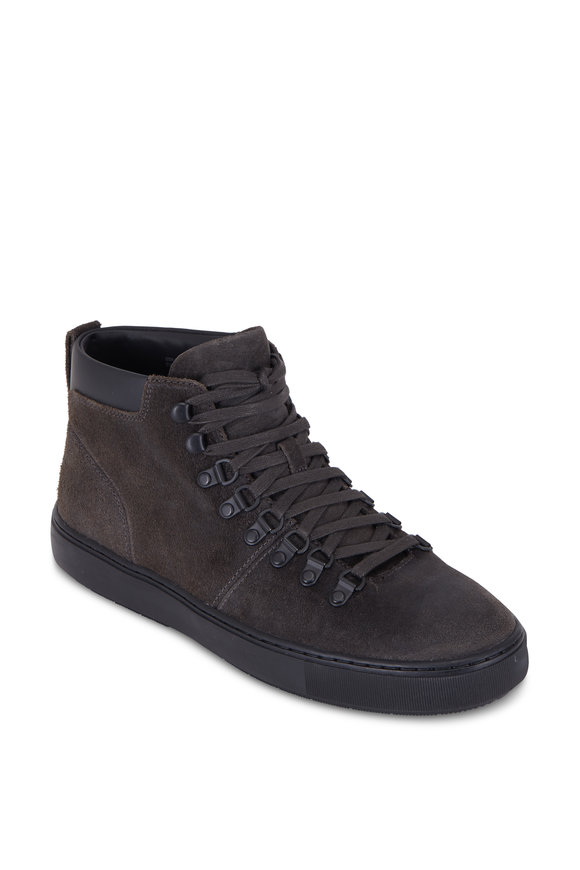 Vince Lancer Carbon Sueded Leather Lace-Up Boot