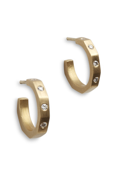 Caroline Ellen - Yellow Gold Diamond Hoop Earrings