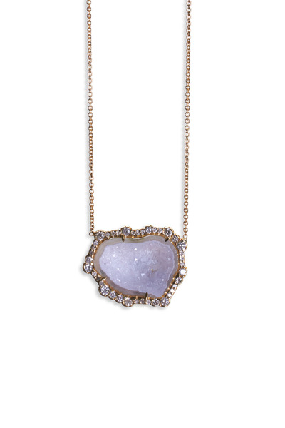 Kimberly McDonald - Yellow Gold White Geode Diamond Pendant