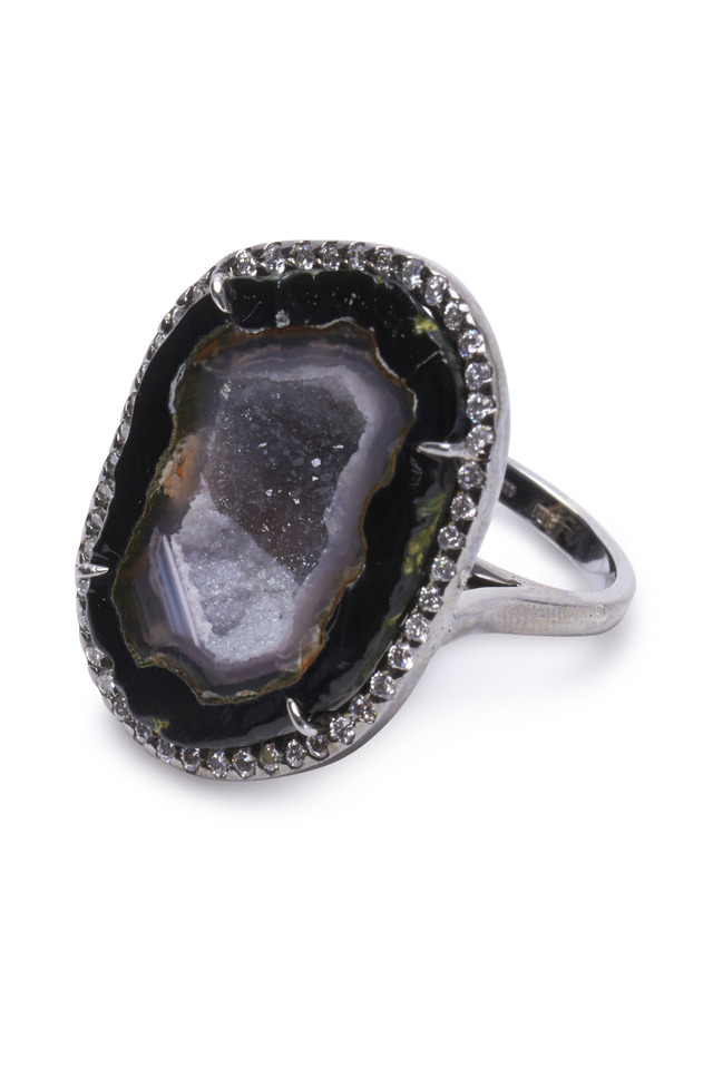 White Gold Geode & Diamond Ring
