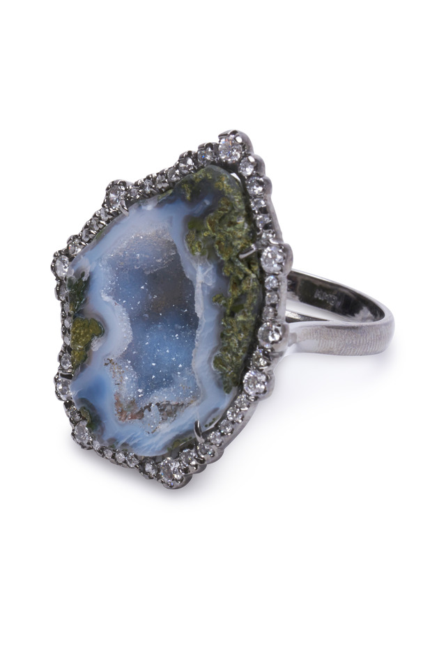 White Gold Light Blue Geode Irregular Diamond Ring