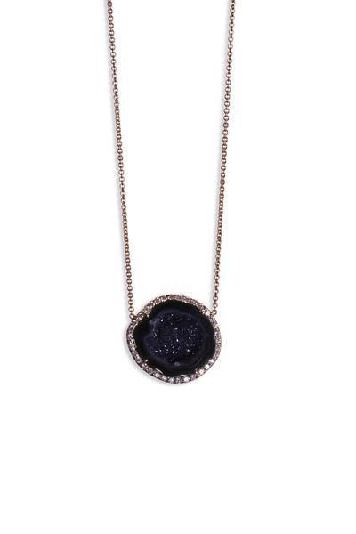 Kimberly McDonald - Rose Gold Dark Geode Diamond Pendant