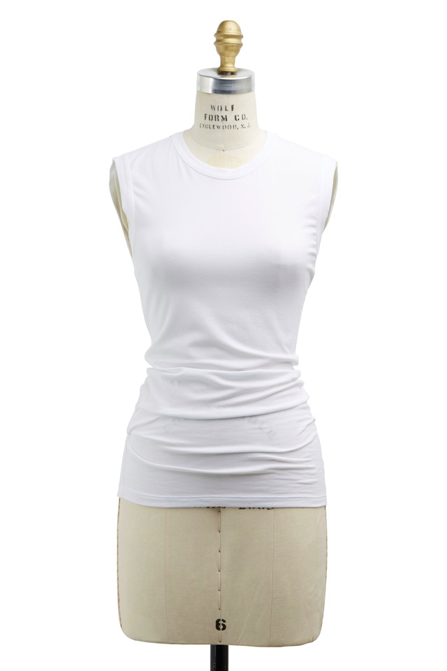 White Cotton Monili Tank Top