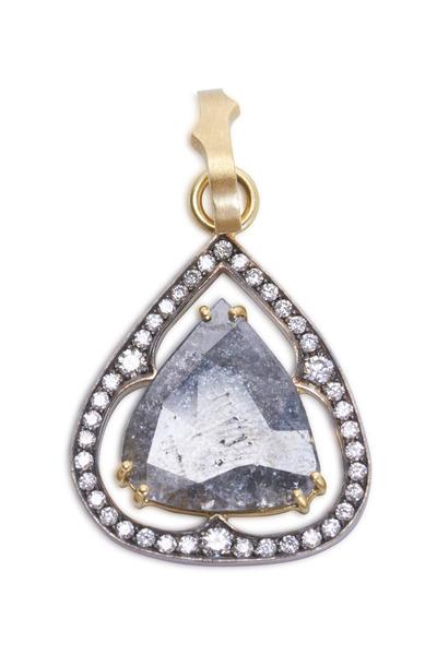 Sylva & Cie - Yellow Gold Rough & White Diamond Pendant