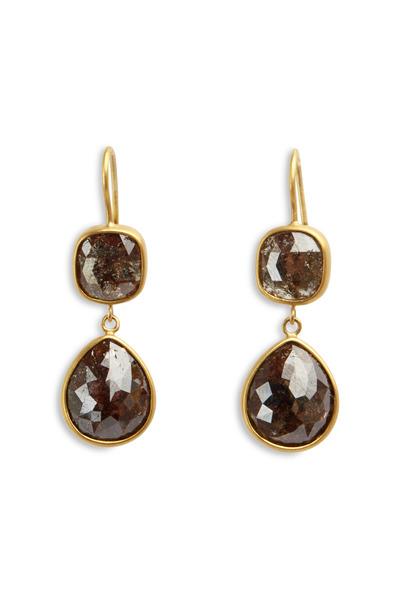 Caroline Ellen - Yellow Gold Double Drop Earrings