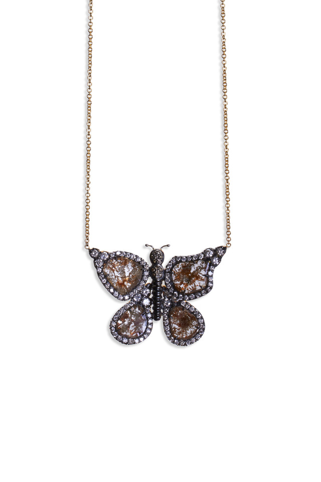 18K Yellow Gold Diamond Butterfly Necklace
