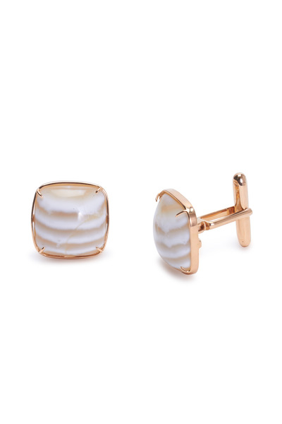 Kimberly McDonald - Rose Gold Striped Chalcedony Cuff Links
