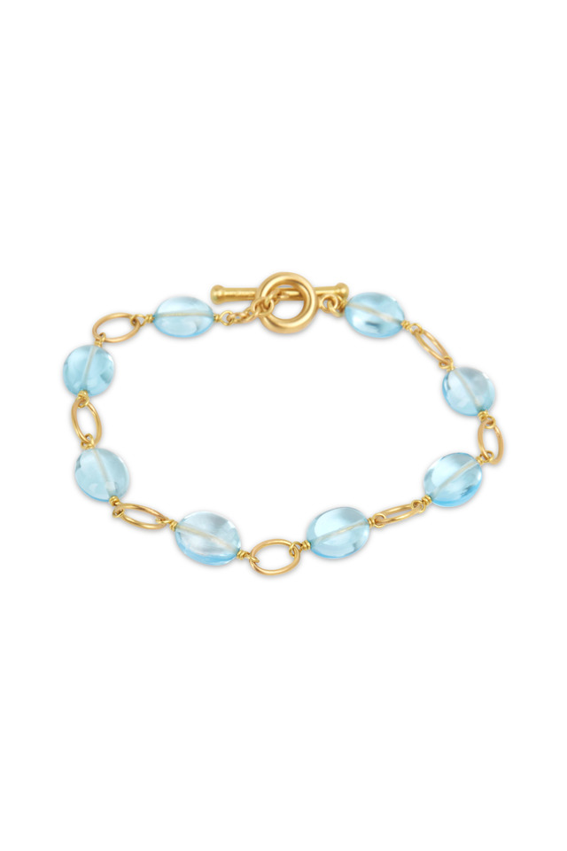 Yellow Gold Airy Blue Topaz Bead Bracelet