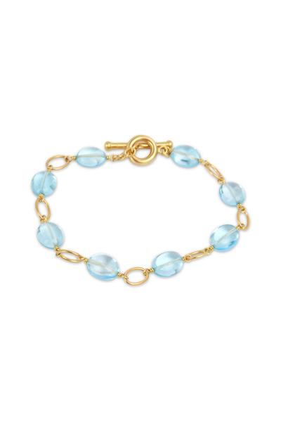 Caroline Ellen - Yellow Gold Airy Blue Topaz Bead Bracelet