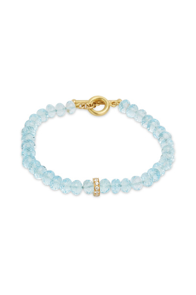 Caroline Ellen - Yellow Gold Blue Topaz Diamond Rondelles Bracelet