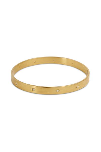 Caroline Ellen - 18K Yellow Gold Diamond Bangle