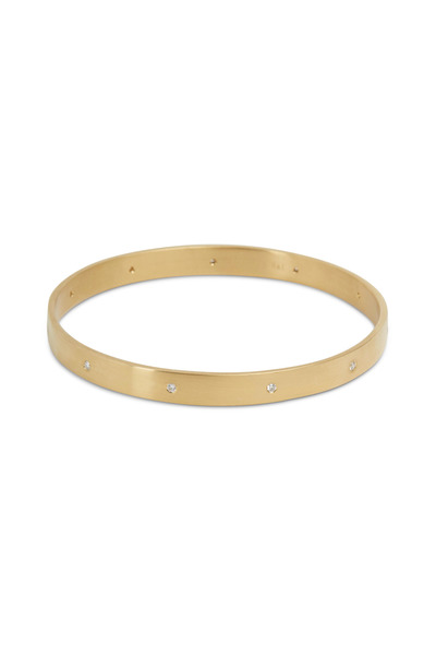 Caroline Ellen - Yellow Gold Round-Cut Diamond Flat Bangle