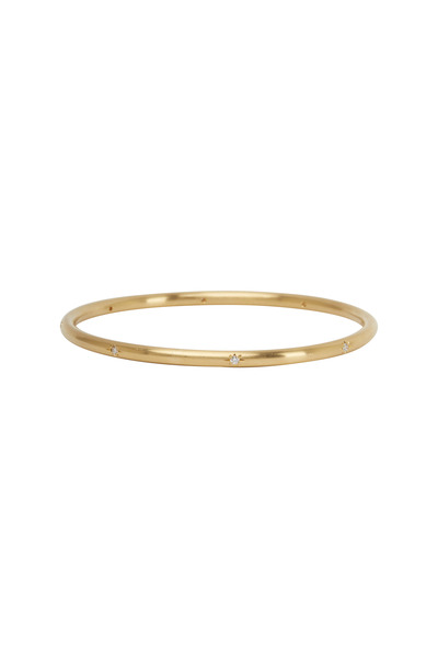 Caroline Ellen - 18K Yellow Gold Round Diamond Bangle