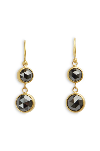Caroline Ellen - Yellow Gold Double Black Diamond Earrings