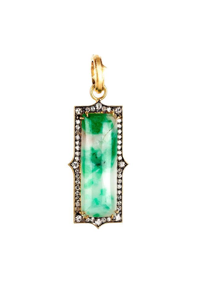 Yellow Gold Emerald Diamond Pendant