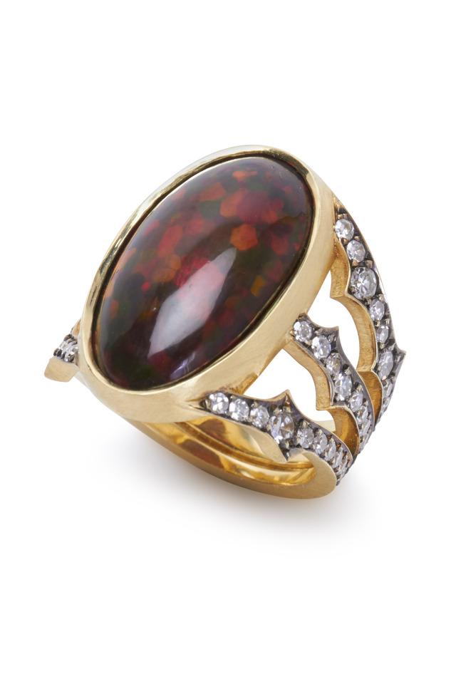 Yellow Gold Ethiopian Opal Diamond Ring