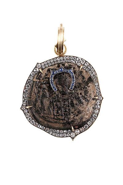 Sylva & Cie - Byzantine Empire Coin Sapphire Diamond Pendant