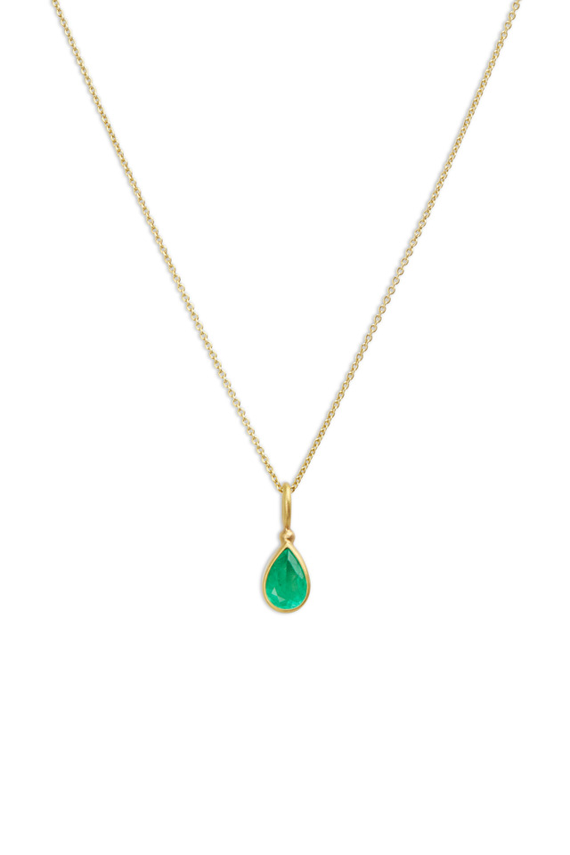 Yellow Gold Pear Shape Emerald Pendant