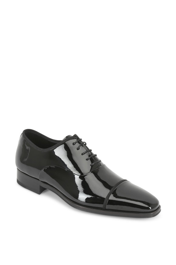 Magnanni Denali Black Patent Leather Cap-Toe Oxford