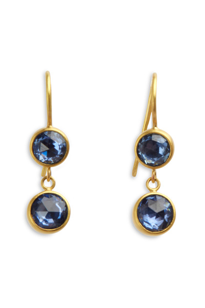 Caroline Ellen - Yellow Gold Blue Sapphire Drop Earrings