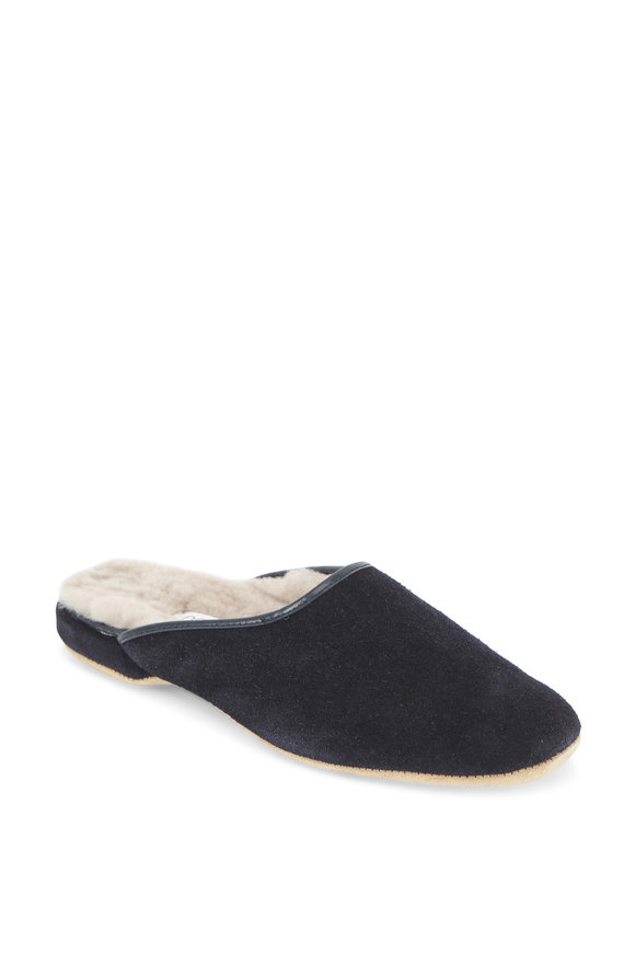 Derek Rose Douglas Navy Blue Suede & Shearling Slipper