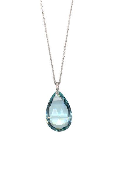 Eclat - White Gold Aquamarine Briolette Diamond Pendant