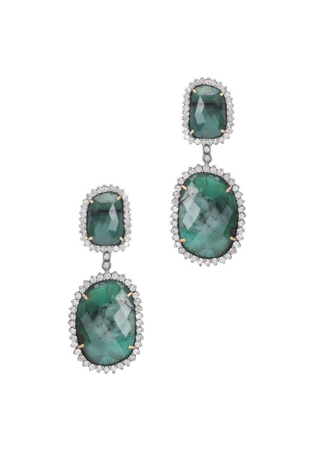18K Gold & Silver Diamond & Emerald Drop Earrings