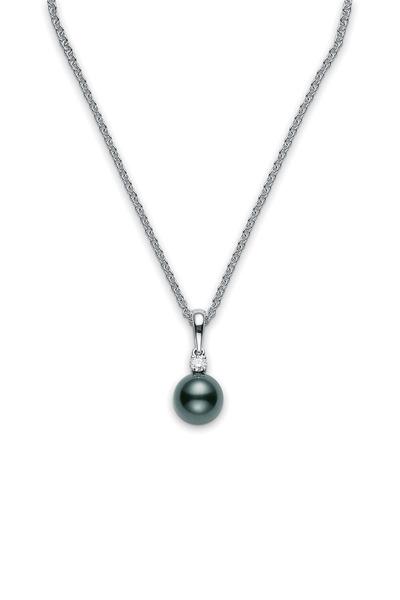 Mikimoto - 18K White Gold Black Pearl & Diamond Necklace