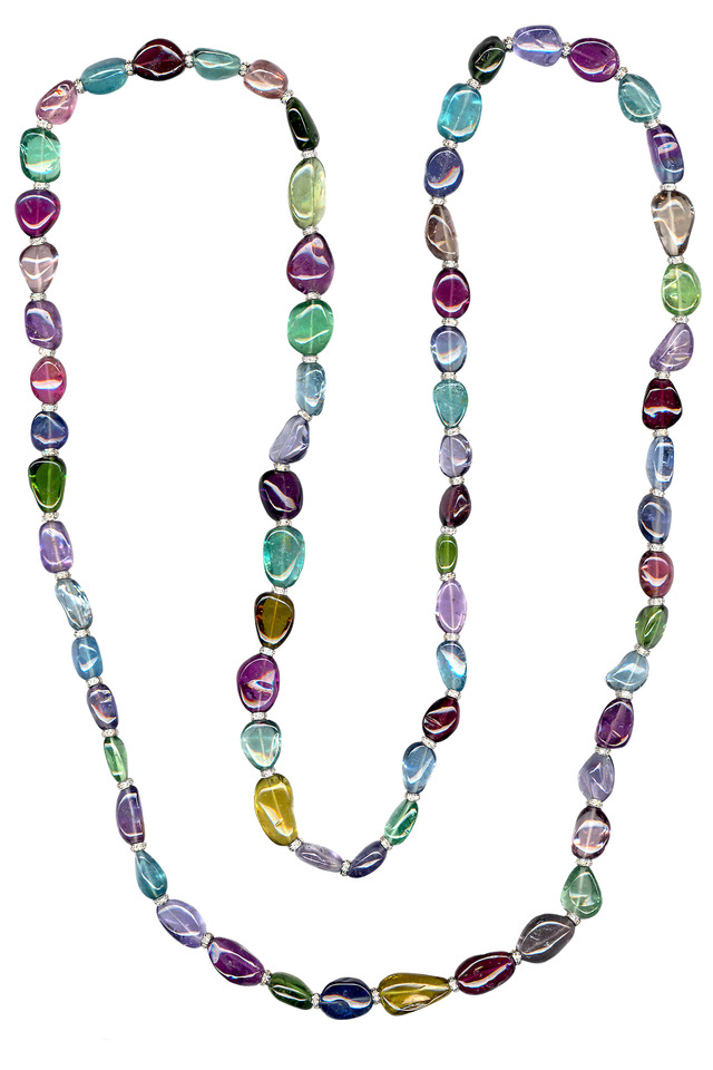 Tourmaline Bead Diamond Rondell Necklace