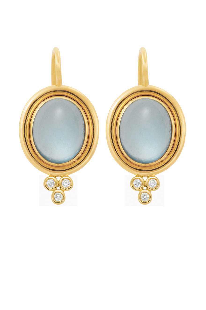 Gold Aquamarine Earrings