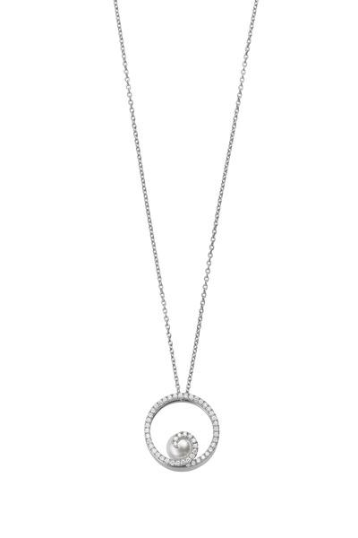 Mikimoto - White Gold Pearl Diamond Pendant
