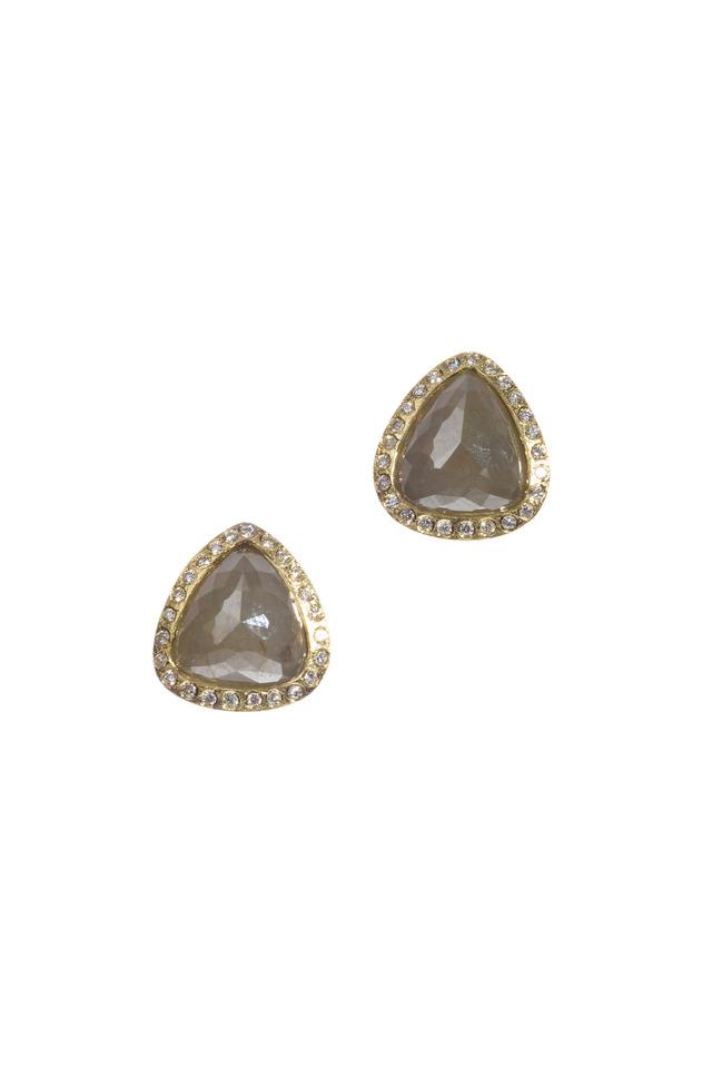 Yellow Gold Grey & White Diamond Earrings