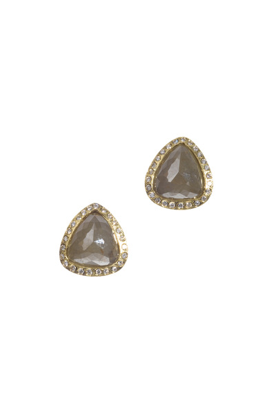 Todd Reed - Yellow Gold Grey & White Diamond Earrings