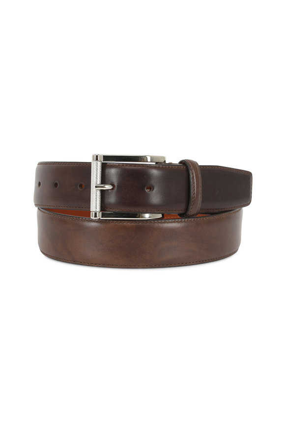 Santoni Danby Dark Brown Leather Belt