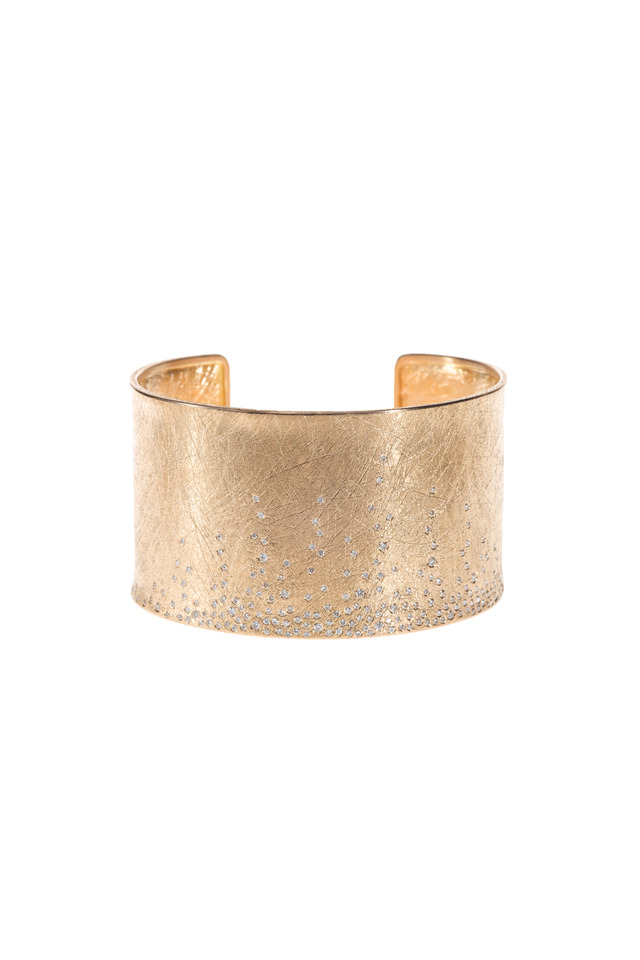 Rose Gold Raw & White Diamond Cuff Bracelet