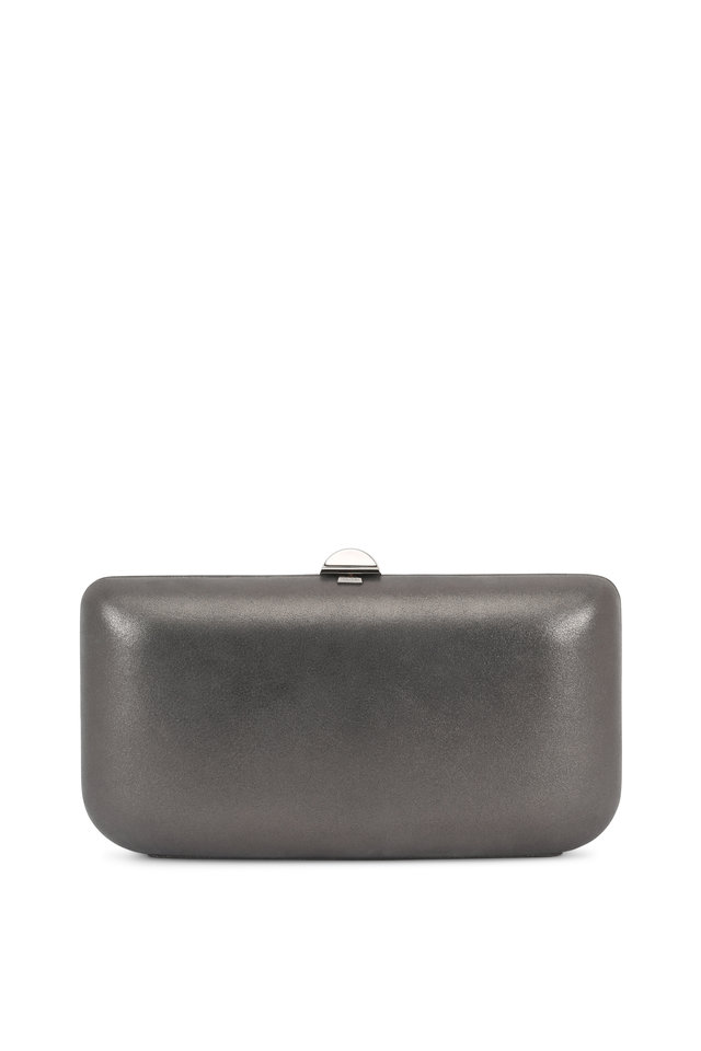 Gunmetal Burma Suede Chain Box Clutch