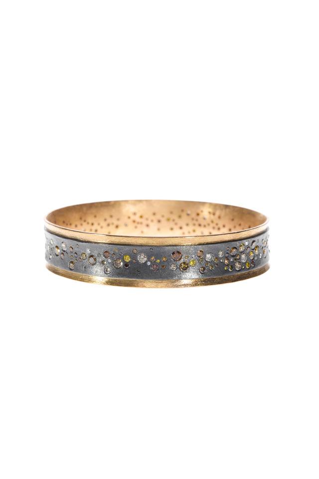 Rose Gold & Silver Diamond Bangle Bracelet