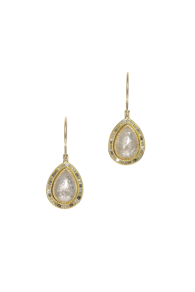 Yellow Gold Mixed Diamond Dangle Earrings