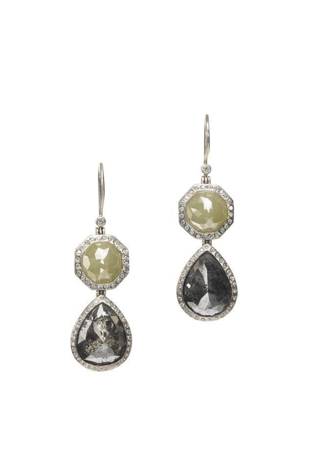 Palladium Mixed Diamond Dangle Earrings