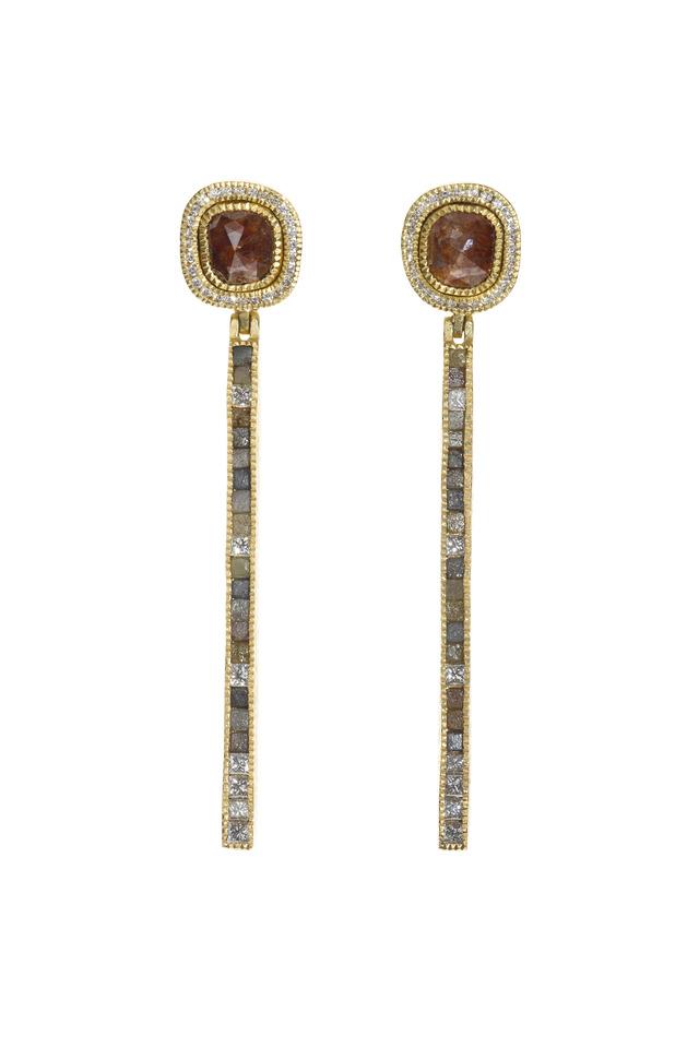 Yellow Gold Red & White Diamond Dangle Earrings