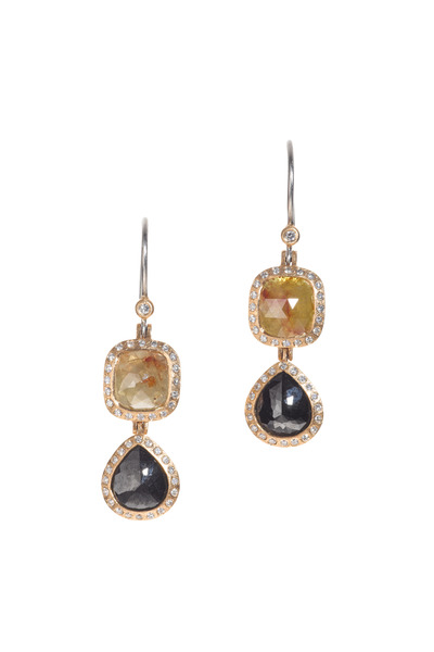 Todd Reed - Rose Gold Fancy Yellow & White Diamond Earrings